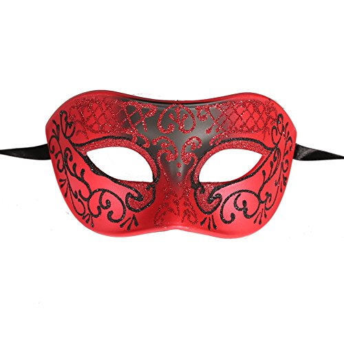 [Xvevina Luxury Mask Men's Vintage Design Masquerade Prom Mardi Gras Venetain (red/black)] (Venice Carnival Costumes Ideas)