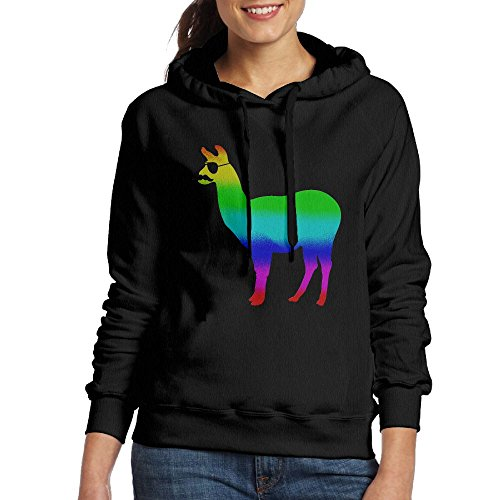 Funny Llama With Sunglasses and Mustache Women Long Sleeve Drawstring Sweatshirt Pullover Hoodie - Reynolds Sunglasses