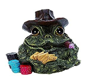 Homestyles Toad Hollow #95973 Figurine Poker Gambler with Playing Cards and Gambling Chips Character Garden Statue Toad Large Figure Natural Green