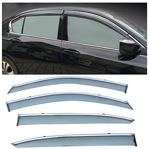 Honda Fit Vent Visor (VIOJI 4pcs Smoke Tint With Chrome Trim PVC Outside Mount Tape On/Clip On Style PVC Sun Rain Guard Vent Shade Window Visors Fit 13-16 Honda Accord 4-Door Sedan)