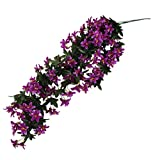 Bunch Silk Hanging Plants Artificial Lily Flower Garland Party Decor Purple