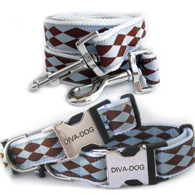 Harlequin Choc/Blue XS-Sm Collar & Leash Set (Metal/Plastic Buckle)-Clearance