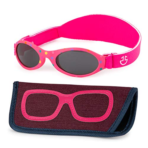 - Baby Sunglasses 0-6, 6-12 month - Age 3 Years   Infant, Toddler Girl & Boy Sun Glasses with Adjustable Strap, Baby Beach Gear   UV 400 Protection   Soft Rubber Frame Sunshades with Case (Pink)