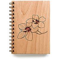 Plumeria Laser Cut Wood Journal (Notebook/Birthday Gift/Gratitude Journal/Handmade)