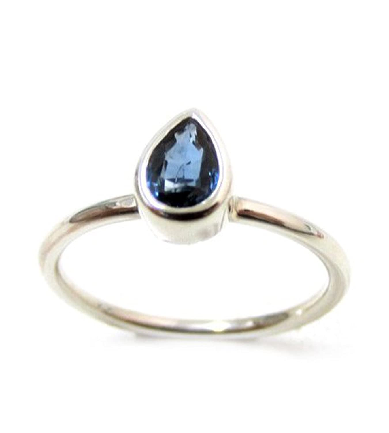 ZilverPassion Stacking Ring Pear Shaped Genuine Blue Sapphire in Sterling Silver, September Birthstone,Available in Gold Plated, Rose Gold Plated (Size 2-15)
