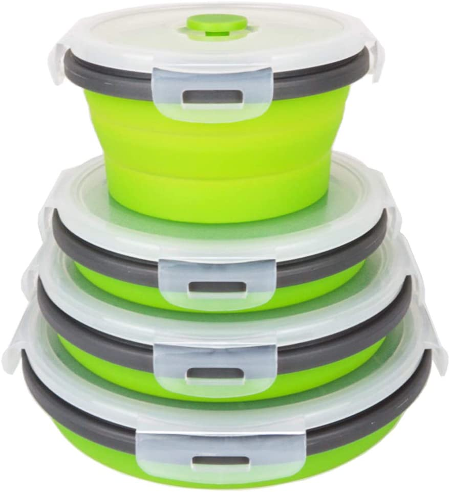 CCyanzi Green Round Collapsible Food Containers Collapsible Silicone Bowls Silicone Food Storage Containers with Airtight Lids, for Kitchen, RV or Lunch Boxes, Microwave and Freezer Safe, Set of 4