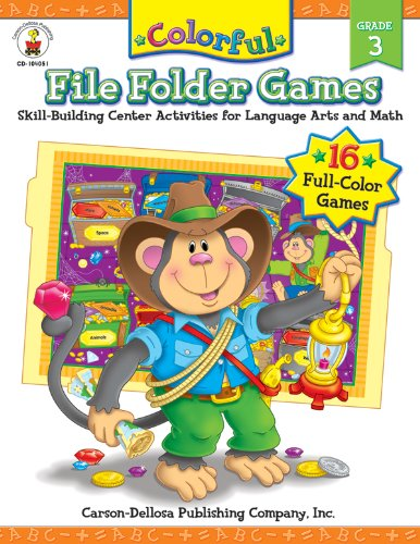 Colorful File Folder Games, Grade 3: Skill-Building Center Activities for Language Arts and Math (Colorful Game Book Series) by Carson-Dellosa Publishing