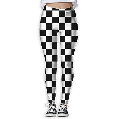 e0433b5d63aa2 Women's Black and White Checkered Stripes Printed Leggings Full-Length Yoga  Workout Leggings Pants Soft Capri at Amazon Women's Clothing store: