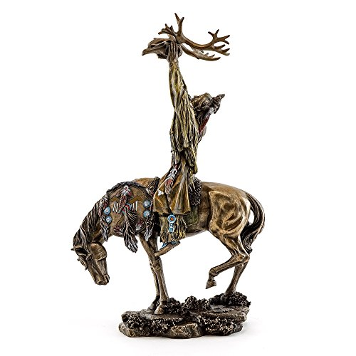 Top Collection 10-Inch Native American Crow Indian Rider on Horseback with Elk Spirit Collectible Statue. Premium Cold Cast Bronze. Hand Painted in Stunning Detail.