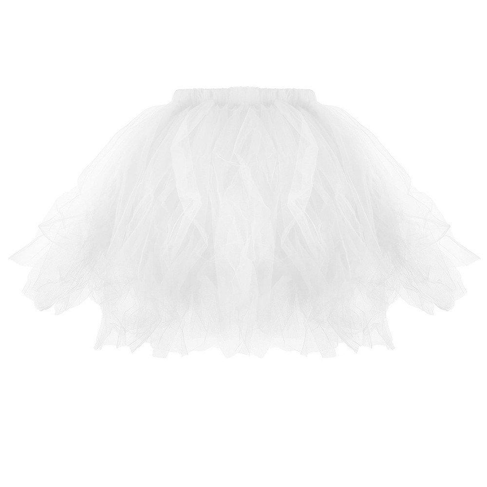 Women Pleated Short Skirt, Casual Pleated Tutu Adult Tutu Skirt Pleated Mini Party Skirts (White, Fre Size)