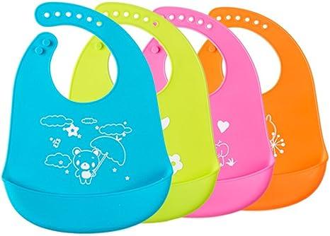 2 Pack Baberos para Bebés del silicona, anti-bacterias impermeable ...