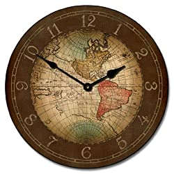 17th Century World Map Wall Clock, Available in 8 sizes, Most Sizes Ship 2 - 3 days, Whisper Quiet.