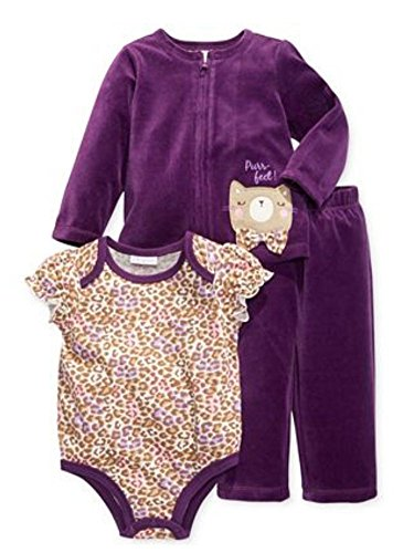 (First Impressions Infant Girl 3 PC Purple Velour Kitty Pants Shirt Sweater 3-6m)