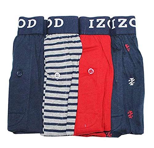 IZOD 4 Pack Knit Boxers (Navy/Grey-Navy Stripe/Red/Navy Izods, XX-Large)