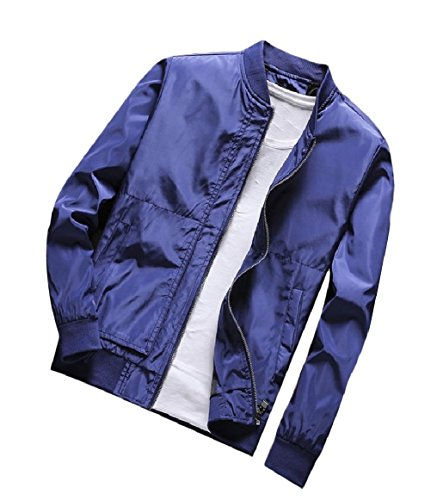 Cappotto Stand Up Zip Blu Base Collare Solido Tasche Mens Con Stile Del Rkbaoye XRqPwY