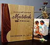 Personalized Wood Cover Photo Album, Custom Engraved Wedding Album, Style 101 (Maple & Rosewood Cover)