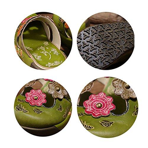 Mocassini Colorato Fiore In Da Piatti Estivi Pelle Verde Scarpe Slipper Slip Fannullone Estiva Sandali Vintage Pantofola Donna on Di Socofy Backless Oxford xTqBwXaB