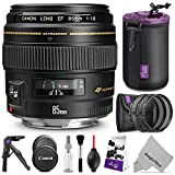 Canon EF 85mm f/1.8 USM Lens w/ Essential Photo Bundle - Includes: Altura Photo UV-CPL-ND4, Mini Tripod, Neoprene Lens Pouch, Camera Cleaning Set