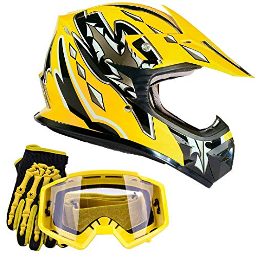 Youth Kids Offroad Gear Combo Helmet Gloves Goggles DOT Motocross ATV Dirt Bike MX Motorcycle Yellow, Small (Yellow Motorcycle Helmet)