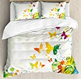 Ambesonne Colorful Home Decor Duvet Cover Set, Silhouettes of Butterflies Freedom Icons of the Nature Festival Artwork, 3 Piece Bedding Set with Pillow Shams, Queen/Full, Multi