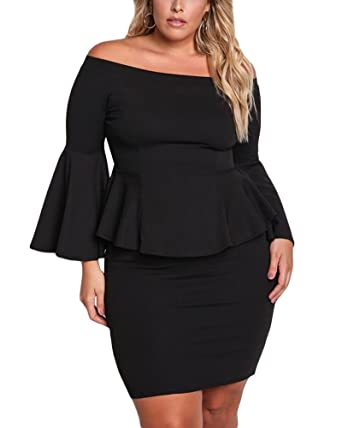 Vinkke Womens Peplum Off The Shoulder Party Plus Size Mini Dress At