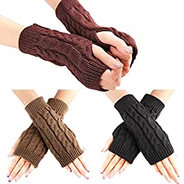 WXJ13 3 Pairs Fingerless Gloves Warm Arm Gloves Winter Knit Crochet Gloves Gift for Women and Girl