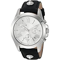 Versus by Versace Men's 'Chrono Lion Extension' Quartz Stainless Steel and Leather Watch, Color:Black (Model: VSPBH1018)