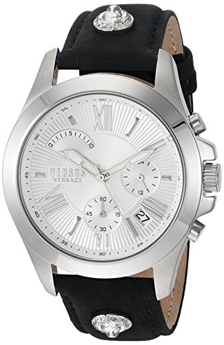 Versus by Versace Men s  Chrono Lion Extension  Quartz Stainless Steel and  Leather Watch, 1c46aa8babd