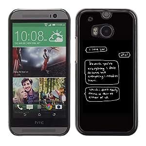 TopCaseStore / la caja del caucho duro de la cubierta de protección de la piel - Deserve Love Funny Quote Self Worth You - HTC One M8