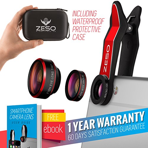Cell Phone Camera Lens 3 In 1 Kit by Zeso | Professional Fisheye, Macro & Wide Angle Lenses | For iPhone, Samsung Galaxy, Android, iPads, Tablets | Universal Phone Clip & Hard Storage Case | 4 Colors