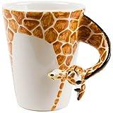 Giraffe Kaffeetasse handgefertigt Orange 225g (10cm x 8cm)