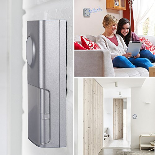 Door Bell, Cambond Waterproof Wireless Doorbell with 2 Receives Plug in, 1 Battery Operated Push Button, 500 Feet Operating Range 58 Ringtones 4 Volume Level LED Flash for Office Home Business, Silver by Cambond (Image #2)