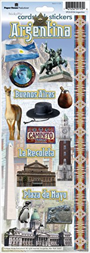 Paper House Productions STCX-0104E Travel Cardstock Stickers, Argentina (6-Pack) ()
