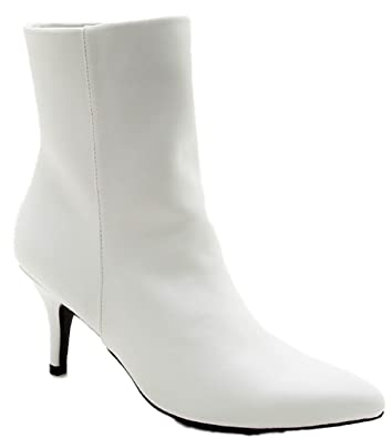 Portia-05 Ankle High Pointed Pointy Toe Kitten Heel Boots White