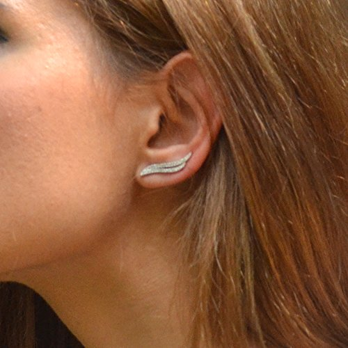 Angle Wing Ear Climbers Crawlers Stud Earrings 14K Rose Gold Plated by espere (Image #2)
