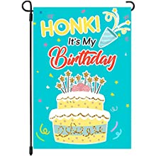 Yangmics Direct HONK! It's My Birthday Cotton and Linen Garden Flag, Birthday Outdoor Decoration Banner for Yard Lawn, 12 Inches x 18 Inches,1 Piece
