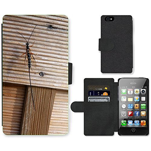 Just Phone Cases PU Leather Flip Custodia Protettiva Case Cover per // M00127883 Avez Wasp hyménoptères insectes animaux // Apple iPhone 4 4S 4G