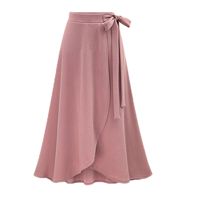 Moshow Women High Waist Irregular Skirt Split Long Banded Skirt Plus Size