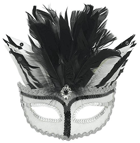 Amscan 365640 Black & White Feather Masquerade Mask, One Size]()