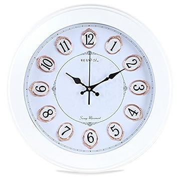 OLILEIO El Salón Mute reloj estéreo moderno sencillo reloj digital de cuarzo reloj electrónico mira alrededor de la habitación,14 pulgadas, ...