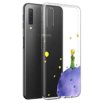 Yoedge Funda Samsung Galaxy A7 2018 Ultra Slim Cárcasa Silicona Transparente con Dibujos Animados Diseño Patrón Resistente 360 Bumper Case Cover para ...