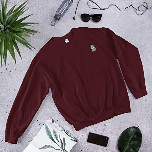 (Prof.Doggo Mini Schnauzer Embroidery - Unisex Sweatshirt Maroon)