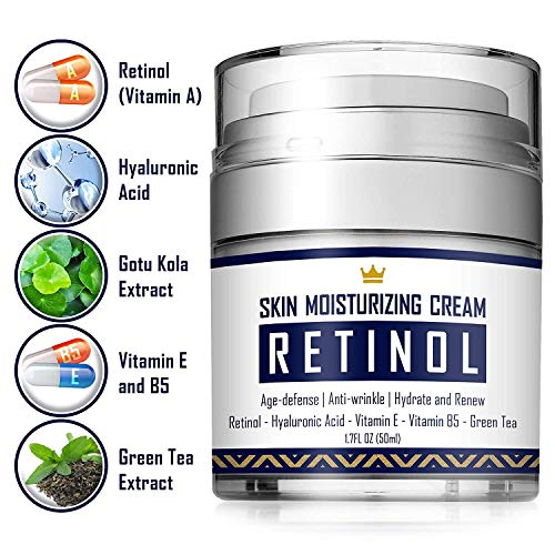 51aLvwpTPBL - Retinol Cream - Anti Aging Face Cream with Hyaluronic Acid, Vitamin E & B5, Jojoba Oil, Green Tea and Gotu Kola Extract -  Fights Appearance of Wrinkles, Fine Lines - Night and Day Moisturizer