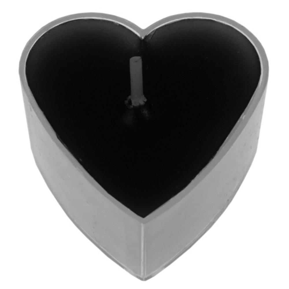 SANTEX 4301-11, Boite de 4 bougies chauffe-plat Coeur, Noir