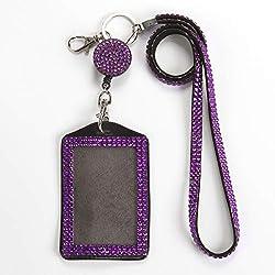 Purple Rhinestone Crystal Necklace Badge Card Holder