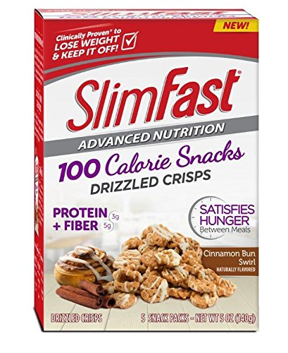 Slim Fast Advanced Nutrition 100 Calorie Snacks, Drizzled Crisps, Cinnamon Bun Swirl, 5 Count (Pack of 4)