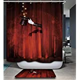 Red Stage Design 3D Shower Curtain for Children Boys Girls Bathroom Decoration Shower Curtain Set with Hooks Polyester Fabric Bath Curtain Waterproof Mildew Resistant Winter Thick Christmas shower Curtain, 70 x 78 Inch (180 x 200 cm)