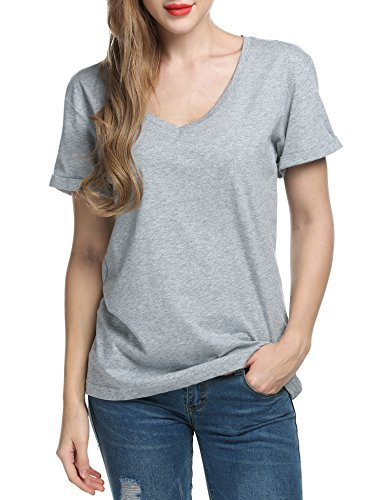 Beyove Women Solid Comfy Loose Fit Roll Over Short Sleeve V Neck Lightweight Top Tee Gray L