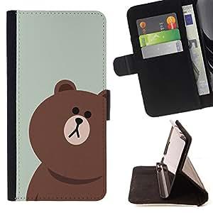 - Brown Bear Grizzly bears/ Personalizada del estilo del dise???¡Ào de la PU Caso de encargo del cuero del tir????n del soporte d - Cao - For Samsung Galaxy S5 Mini, SM-G800