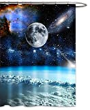 Moon Galaxy Nebula Fabric Shower Curtain Full Moon Starry Night Blue Earth Outer Space Universe Waterproof Mildew Resistant Bath Decor-Black Blue (70''Wx70''L)